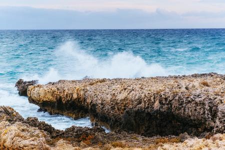 salina: Scenic rocky coastline Cape Milazzo. Sicily, Italy. Stock Photo