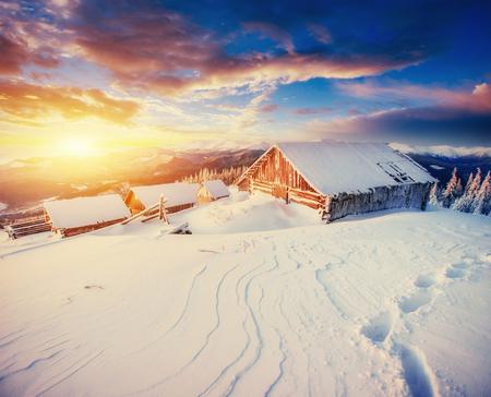 cabin in the mountains in winter. Carpathian, Ukraine Europe