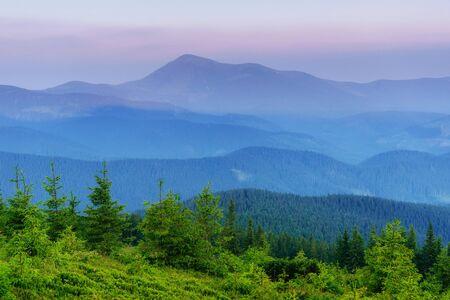 Beautiful sunset in the Carpathian Mountains Ukraine Stock Photo