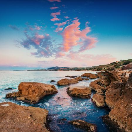 rocky coastline: Scenic rocky coastline Cape Milazzo. Sicily, Italy