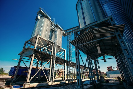 Set of storage tanks cultivated agricultural crops processing pl Stock Photo