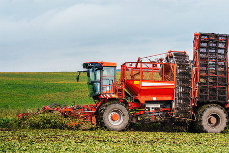 Potato harvester and tractor Stock Photo