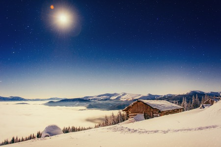 Starry sky above our restaurant in the mountains Stock Photo
