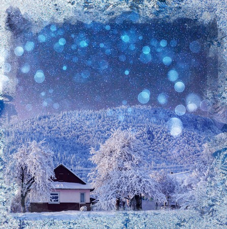 fantastic winter landscape. Chalet under the stars. background