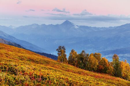 Magic autumn landscape and snow-capped mountain peaks.