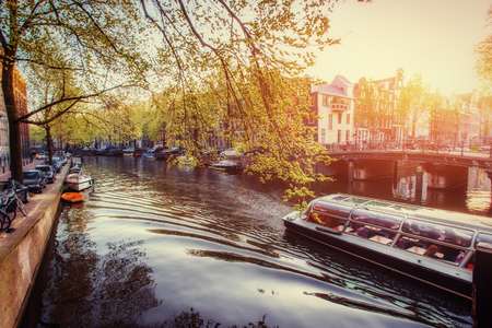 Amsterdam canal at sunset