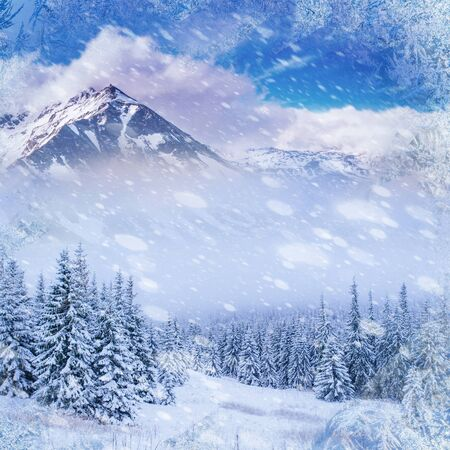 magical winter landscape, background with some soft highlights Stock Photo