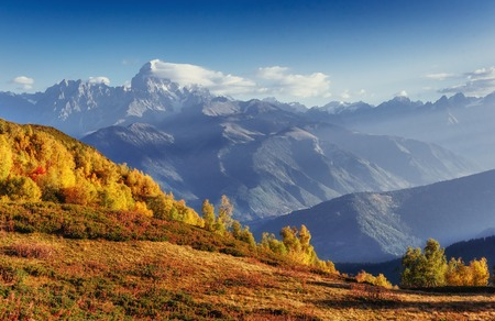 Autumn landscape and snow-capped mountain peaks. View of the mountain