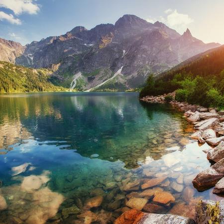 Lake high in the Tatras Sea Eye. Poland