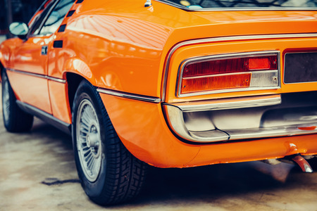 Rear view of a car. Beautiful retro style transport exhibition. Stock Photo
