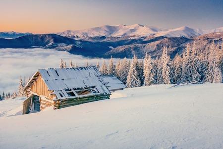 chalet in the mountains. Beauty world. Carpathians Ukraine Europe.