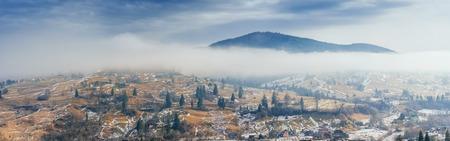 mountain village in the valley. Carpathians. Ukraine. Europe Stock Photo