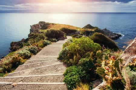 Sea and Cape Milazzo. Beauty world. Italy.