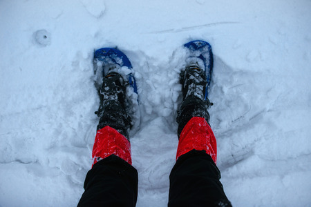 Feet in snowshoes on snow.