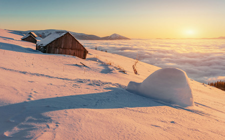 yurt and chalets in the mountains in the west Stock Photo