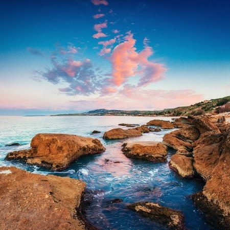 rocky coastline: Scenic rocky coastline Cape Milazzo.Sicily, Italy.