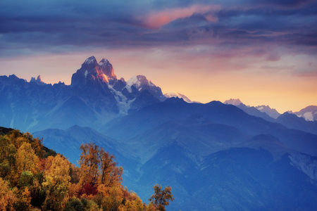 george: Autumn landscape and snowy mountain peaks.