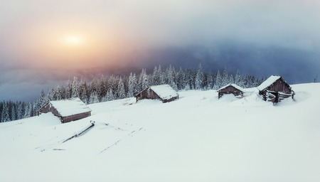 chalets in the mountains at sunset. Carpathian. Ukraine Europe