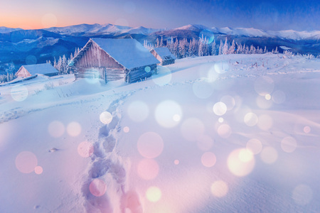 chalet in the mountains,  background with some soft highlights a