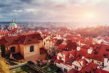 saint nicolas: St. Vitus Cathedral and roofs of Prague Stock Photo