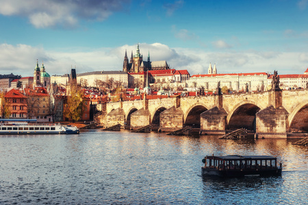 view of the Charles Bridge which crosses the River Vltava