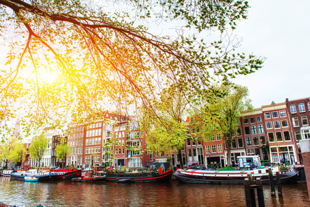 Amsterdam canal at sunset.