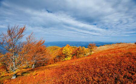 mountain range in the Carpathian Mountains in the autumn season. Stock Photo