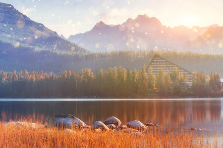 Majestic mountain lake in National Park High Tatra. Strbske pleso