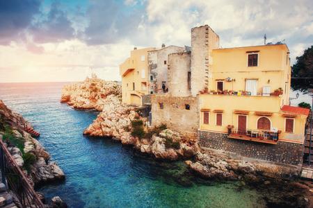 Scenic rocky coastline Cape Milazzo. Sicily Italy