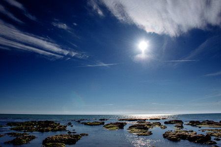 rocky coastline: Scenic rocky coastline Cape Milazzo. Sicily, Italy. Stock Photo