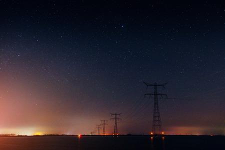 power line under the stars. Georgia Svaneti Europe Stock Photo