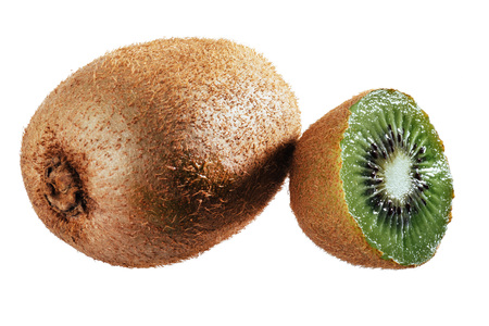 cantle: Whole kiwi fruit and his sliced segments isolated