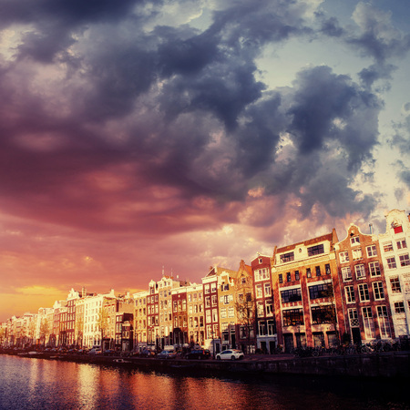 Amsterdam canal on the west.