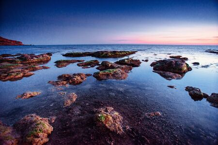 The night sky over the sea. Location cape San Vito