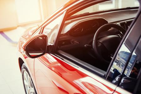 of beautiful modern car close up in the cabin Standard-Bild
