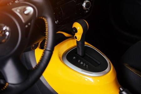 manual shift of modern car gear shifter. Stock Photo