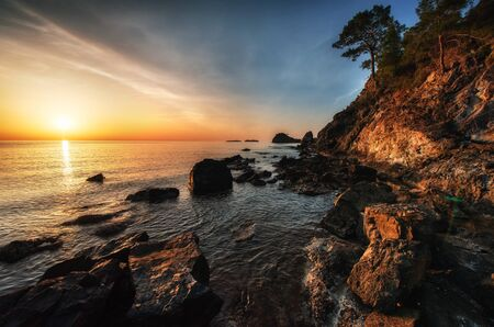 Fantastic panoramic view of the rocky coast Stock Photo