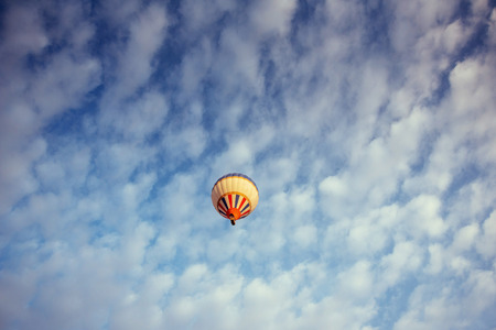 colorful balloon on the blue sky. Beauty world. Stock Photo