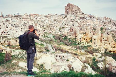 man photographs the ancient city Stock Photo