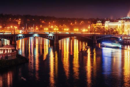 View of night Prague, Czech Republic