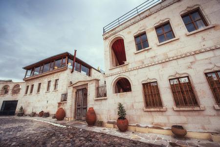 Vecchia casa tradizionale ottomana in background Archivio Fotografico