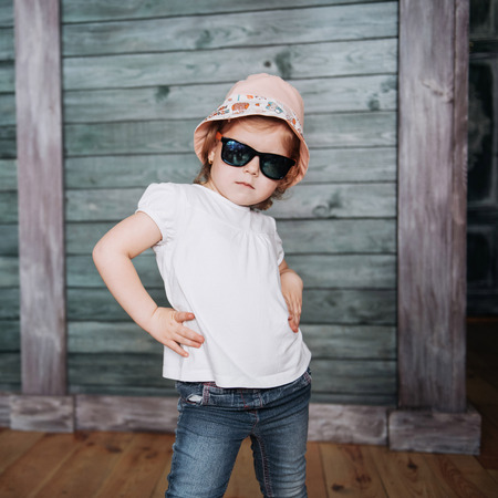 Fashion little girl, a child dressed Stock Photo