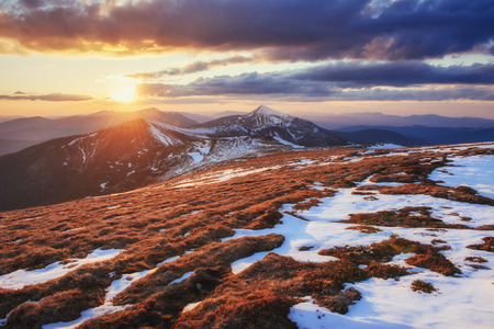 Colorful spring sunset over the mountain ranges in the national park Carpathians. Ukraine, Europe.