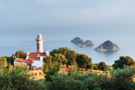 Lighthouse Gelidonya Peninsula in spring. Beautiful landscapes outdoors in Turkey and Asia. The landscape in the Mediterranean.