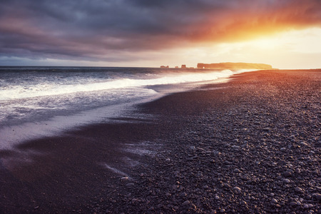 Reynisfjara black sand beach in Iceland. Beauty world Stock Photo
