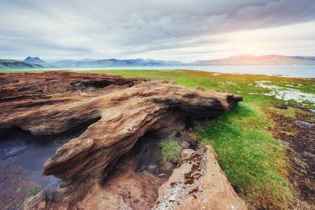 volcanic rocks in Iceland. Sunset. Beauty world. Stock Photo