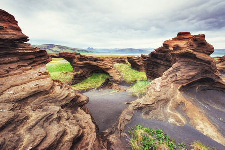 Texture of rocks melted by volcanic magma
