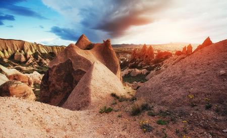 Amazing sunset over Cappadocia. Turkey. Europe