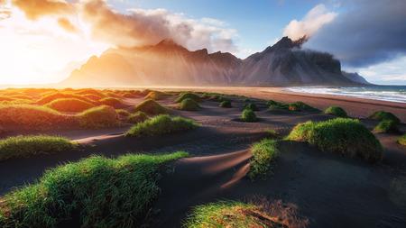 inlet bay: Magic sunset on a sandy beach. Beauty world. Turkey