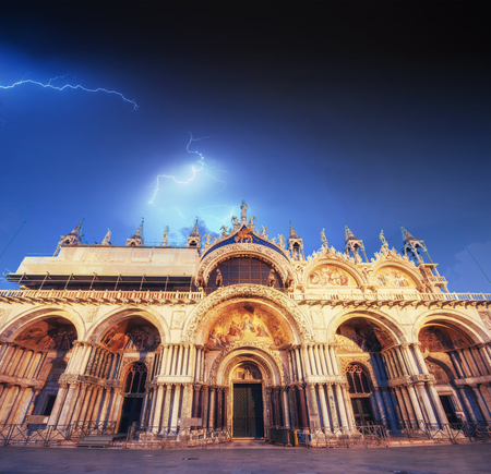 Beautiful view of the sky with lightning. Patriarchal Cathedral